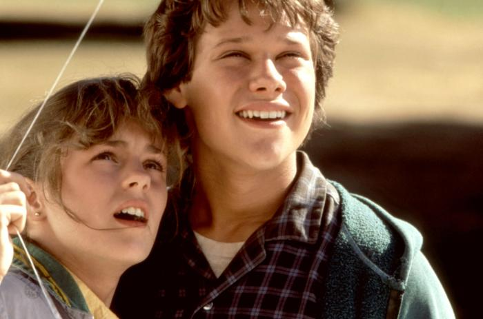 still of Jay Underwood and Lucy Deakins from The Boy Who Could Fly
