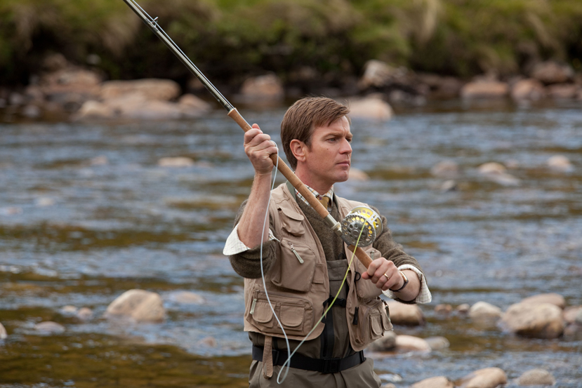 Ewan McGregor flyfishing as Dr. Alfred Jones